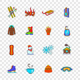 Winter icons set, pop-art style. Winter icons set in pop-art style with transparency for design Royalty Free Stock Photos