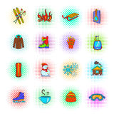 Winter icons set, pop-art style Stock Images