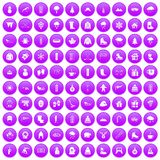 100 winter icons set purple. 100 winter icons set in purple circle isolated on white vector illustration Stock Images