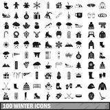 100 winter icons set in simple style Stock Images