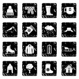 Winter icons set, simple style Stock Images