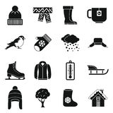 Winter icons set, simple style Stock Photos