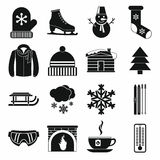 Winter icons set, simple style. Winter icons set in simple style on a white background Royalty Free Stock Images