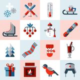 Winter icons set Stock Photography