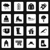 Winter icons set squares vector Royalty Free Stock Image