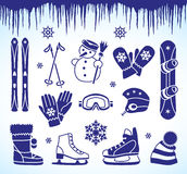 Winter icons. Icons for winter sport equipment and accessories Stock Images