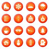 Winter icons vector set Royalty Free Stock Photography