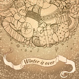 Winter icons vintage circle composition Royalty Free Stock Photos