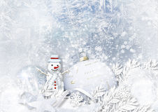 Winter icy background with Christmas decorations and snowman Royalty Free Stock Photos