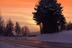 Winter Icy Road stock photo