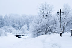 Winter icy street landscape Royalty Free Stock Image