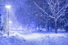 Winter idyll park in the night and footpath covered with big snow. Beautiful winter idyll public park in the night and footpath covered with big snow. Shining royalty free stock photo