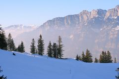 Winter Idyllic Scene In Swiss Alps Stock Photos