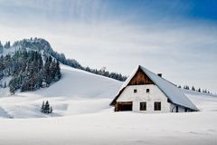 Winter idyllic with small hut Stock Image