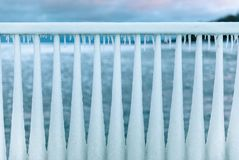 Ice Railing cold winter in Chicago stock images