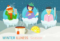 Winter Illness Season People Design. Cold and sick, virus and health, flu infection, fever disease, sickness and temperature, unwell and scarf illustration royalty free illustration