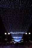 Winter Illumination lights in Gomel, Belarus at night stock photos