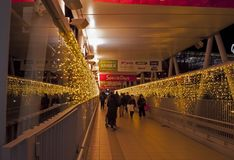 Winter illumination in a mall. Nagareyama, Japan - January 2, 2019 : people visits a mall that has illumination path during a winter night in Nagareyama, Japan royalty free stock photography