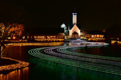 Winter illumination in Mie, Japan. Mie, Japan - March 4, 2015: Nabana no sato winter illumination in Mie province is one of Japan's largest illumination parks stock photos