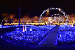 Winter illumination in Mie, Japan. Mie, Japan - March 4, 2015: Nabana no sato winter illumination in Mie province is one of Japan's largest illumination parks stock photo