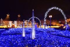 Winter illumination in Mie, Japan. Mie, Japan - March 4, 2015: Nabana no sato winter illumination in Mie province is one of Japan's largest illumination parks stock image