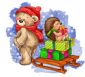 Winter illustration of bear carries the sledge with hedgehog. Cute bear carries the sledge with hedgehog and gifts Royalty Free Stock Photo