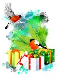 Winter illustration with bullfinches on an abstract watercolor background. Royalty Free Stock Image