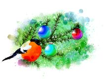 Winter illustration with bullfinches on an abstract watercolor background. Stock Photo