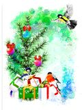 Winter illustration with bullfinches on an abstract watercolor background. Stock Image