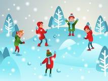 Winter illustration. Children play snowballs. Winter children`s. Games. Boys and girls. Vector illustration Royalty Free Stock Photos