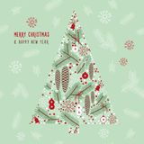 Winter illustration, Christmas Tree Royalty Free Stock Image