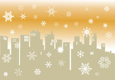 Winter illustration with cityscape silhouette Stock Photography