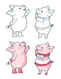 Winter illustration with cute cartoon stock illustration