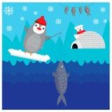 Winter illustration with cute fishing penguin. EPS 10 vector illustration