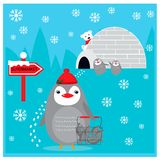 Winter illustration with cute penguin bought  fish in supermarket Stock Photography
