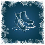 Winter illustration with figure skates. Framed by snowflakes Royalty Free Stock Photography