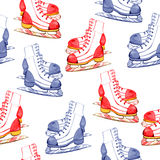 Winter illustration with figure skates seamless pattern. On white background Royalty Free Stock Image