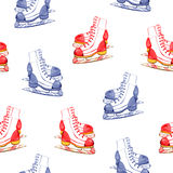 Winter illustration with figure skates seamless pattern. On white background Stock Photos