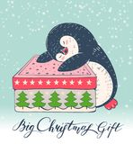 Penguin. Winter illustration with funny cartoon penguin with a big Christmas gift. Vector Royalty Free Stock Images