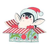Penguin. Winter illustration with funny cartoon penguin with Christmas gift. Vector Royalty Free Stock Photos