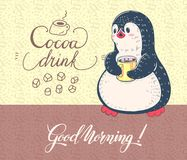 Penguin. Winter illustration.  Funny cartoon penguin with a Cup of cocoa. Vector Stock Photos
