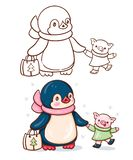 Penguin and a pig. Winter illustration with funny cartoon penguin with pig. Painted and monochrome version. Vector vector illustration