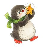 Penguin with a star. Winter illustration with funny cartoon penguin with a star.  Drawing with markers isolated on a white background Stock Photography