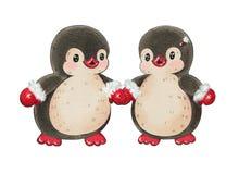 Funny cartoon penguins stock illustration