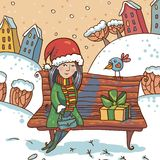 Winter illustration with girl and gift on a park Royalty Free Stock Images