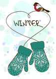 Winter illustration with knitted mittens Stock Image