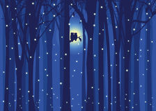 Winter illustration love owl in snowing forest. Winter illustration love owl in blue snowing forest Royalty Free Stock Photo