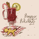 Winter illustration with Mulled Wine cocktail Stock Images