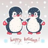 Winter illustration with penguins stock illustration