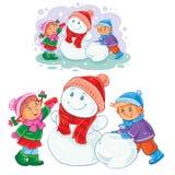 Winter illustration of small children make snowmen. Stock Photography